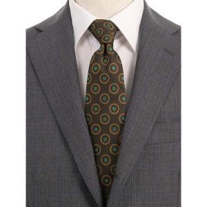 ネクタイ/レギュラータイ/メンズ/小紋×織柄ネクタイ/Fabric by VANNERS/ ブラウン×ライトブラウン×グリーン|uktsc