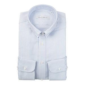 ドレスシャツ/長袖/メンズ/blazer's bank.com/タブカラードレスシャツ ストライプ サックスブルー×ホワイト|uktsc