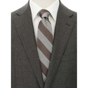 ネクタイ/レギュラータイ/メンズ/blazer's bank.com/ストライプ×織柄フレスコタイ ブラウン系|uktsc