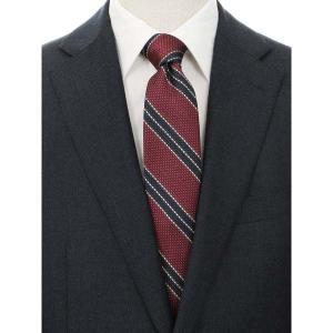 ネクタイ/レギュラータイ/メンズ/blazer's bank.com/ストライプ×織柄フレスコタイ レッド系 uktsc