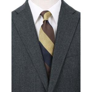 ネクタイ/レギュラータイ/メンズ/blazer's bank.com/ストライプ×ヘリンボーン柄ネクタイ ブラウン系|uktsc