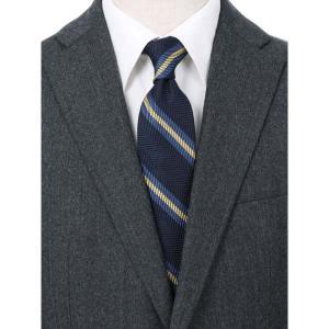 ネクタイ/レギュラータイ/メンズ/blazer's bank.com/ストライプ×ヘリンボーン柄ネクタイ ネイビー系|uktsc