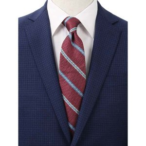 ネクタイ/レギュラータイ/メンズ/blazer's bank.com/ストライプ柄ネクタイ ワイン×サックスブルー×ホワイト uktsc