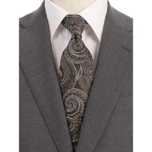 ネクタイ/レギュラータイ/メンズ/blazer's bank.com/ペイズリー×織柄ネクタイ ブラウン×ブラック×ホワイト|uktsc
