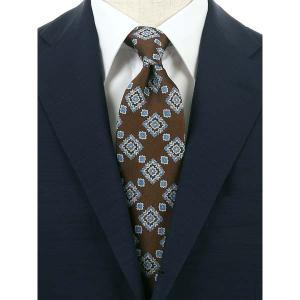 ネクタイ/レギュラータイ/メンズ/blazer's bank.com/小紋×織柄ネクタイ ブラウン×ブルー×ホワイト|uktsc
