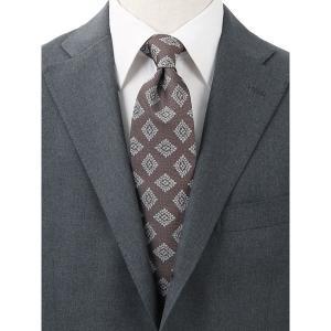 ネクタイ/レギュラータイ/メンズ/blazer's bank.com/小紋柄ネクタイ ブラウン×ホワイト|uktsc