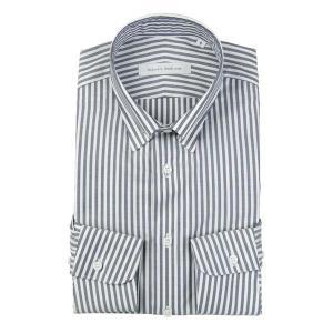 ドレスシャツ/長袖/メンズ/blazer's bank.com/ピンホールカラードレスシャツ ストライプ ネイビー×ホワイト|uktsc