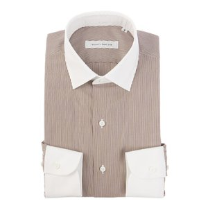 ドレスシャツ/長袖/メンズ/blazer's bank.com/クレリック&ワイドカラードレスシャツ ストライプ ブラウン×ホワイト|uktsc