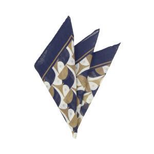ポケットチーフ/メンズ/MADE IN ITALY/ジオメトリックプリント ウールシルクポケットチーフ ブラウン×ネイビー×クリーム uktsc