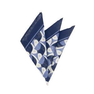ポケットチーフ/メンズ/MADE IN ITALY/ジオメトリックプリント ウールシルクポケットチーフ ネイビー×ブルー×クリーム uktsc