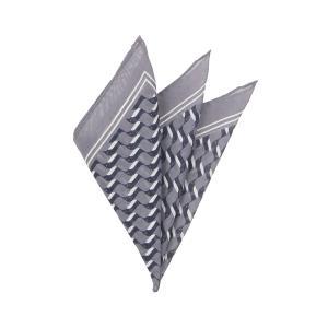 ポケットチーフ/メンズ/MADE IN ITALY/ジオメトリックプリント ウールシルクポケットチーフ グレー×ネイビー×ホワイト uktsc