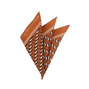 ポケットチーフ/メンズ/MADE IN ITALY/ジオメトリックプリント ウールシルクポケットチーフ オレンジ×ブラウン×ホワイト uktsc