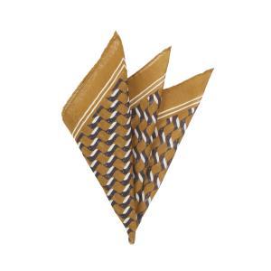 ポケットチーフ/メンズ/MADE IN ITALY/ジオメトリックプリント ウールシルクポケットチーフ イエロー×ネイビー×ホワイト uktsc