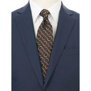 ネクタイ/レギュラータイ/メンズ/blazer's bank.com/ジオメトリック柄ネクタイ/Fabric by ENGLAND/ ブラウン×シルバー×ブルー|uktsc