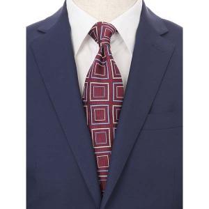 ネクタイ/レギュラータイ/メンズ/blazer's bank.com/ジオメトリック柄ネクタイ/Fabric by ENGLAND/ エンジ×シルバー×ブルー uktsc