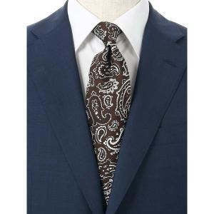 ネクタイ/レギュラータイ/メンズ/blazer's bank.com/ペイズリー柄ネクタイ/Fabric by ENGLAND/ ブラウン×ホワイト|uktsc