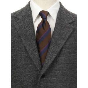 ネクタイ/レギュラータイ/メンズ/blazer's bank.com/ストライプ×織柄ネクタイ/ROBERT KEYTE/ ブラウン系|uktsc