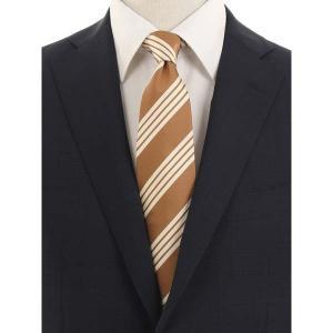 ネクタイ/レギュラータイ/メンズ/blazer's bank.com/ストライプ柄ネクタイ/Fabric by ENGLAND/ ブラウン×クリーム|uktsc