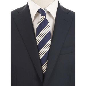 ネクタイ/レギュラータイ/メンズ/blazer's bank.com/ストライプ柄ネクタイ/Fabric by ENGLAND/ ネイビー×クリーム uktsc