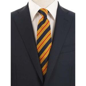 ネクタイ/レギュラータイ/メンズ/blazer's bank.com/ストライプ柄ネクタイ/Fabric by ENGLAND/ マスタード×ネイビー×レッド uktsc