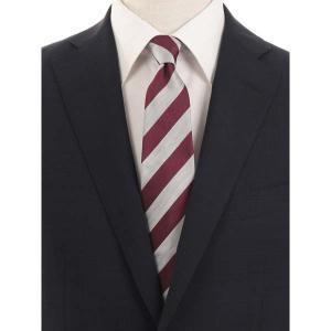ネクタイ/レギュラータイ/メンズ/blazer's bank.com/ストライプ柄ネクタイ/Fabric by ENGLAND/ シルバーグレー×ワイン uktsc