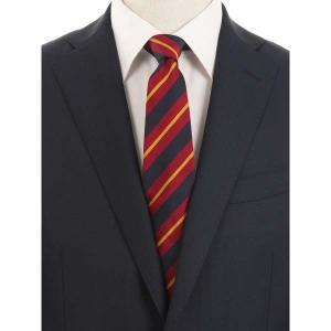 ネクタイ/レギュラータイ/メンズ/blazer's bank.com/ストライプ柄ネクタイ/Fabric by ENGLAND/ エンジ×ネイビー×マスタード uktsc