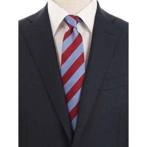 ネクタイ/レギュラータイ/メンズ/blazer's bank.com/ストライプ柄ネクタイ/Fabric by ENGLAND/ ブルー×エンジ uktsc
