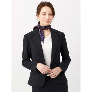スカーフ/レディース/destyle/JAPAN QUALITY/シルクツイル フラワープリントディアマンテスカーフ ネイビー×レッド×ホワイト|uktsc