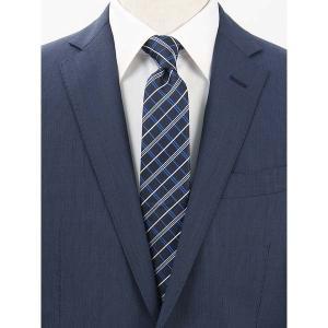 ネクタイ/レギュラータイ/メンズ/チェック柄ネクタイ ネイビー×ホワイト×ブルー|uktsc