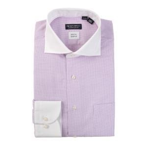 ドレスシャツ/長袖/メンズ/クレリック&ホリゾンタルカラードレスシャツ 織柄 〔EC・CLASSIC SLIM-FIT〕 ピンク×パープル uktsc