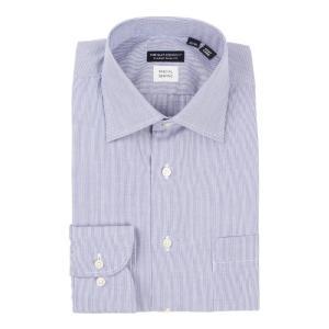ドレスシャツ/長袖/メンズ/Special sewing/ワイドカラードレスシャツ〔EC・CLASSIC SLIM-FIT〕 ブルー×ホワイト|uktsc