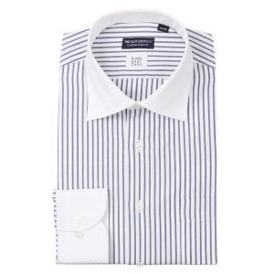 ドレスシャツ/長袖/メンズ/クレリック&ワイドカラードレスシャツ ストライプ 〔EC・CLASSIC SLIM-FIT〕 ホワイト×ネイビー|uktsc