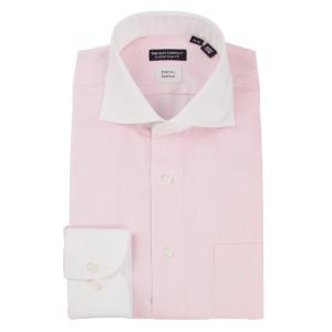 ドレスシャツ/長袖/メンズ/バンブー素材/ホリゾンタルカラードレスシャツ〔EC・CLASSIC SLIM-FIT〕 ピンク×ホワイト uktsc