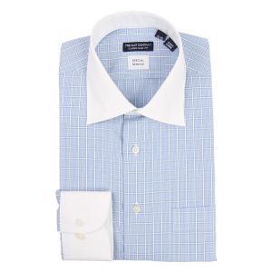 ドレスシャツ/長袖/メンズ/クレリック&ワイドカラードレスシャツ ウインドーペーン 〔EC・CLASSIC SLIM-FIT〕 サックスブルー×ホワイト×ネイビー|uktsc