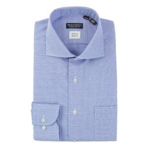 ドレスシャツ/長袖/メンズ/ホリゾンタルカラードレスシャツ 織柄 〔EC・CLASSIC SLIM-FIT〕 ブルー×ホワイト uktsc