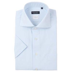 ドレスシャツ/半袖/メンズ/半袖・NON IRON/ホリゾンタルカラードレスシャツ〔EC・CLASSIC SLIM-FIT〕 サックスブルー×ホワイト uktsc