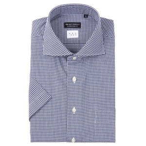 ドレスシャツ/半袖/メンズ/半袖・NON IRON/ホリゾンタルカラードレスシャツ〔EC・CLASSIC SLIM-FIT〕 ネイビー×ホワイト uktsc