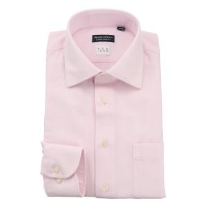 ドレスシャツ/長袖/メンズ/NON IRON/ワイドカラードレスシャツ 織柄 〔EC・CLASSIC SLIM-FIT〕 ピンク|uktsc