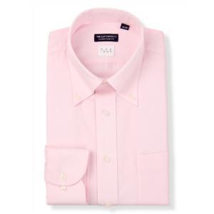 ドレスシャツ/長袖/メンズ/NON IRON/ボタンダウンカラードレスシャツ 〔EC・CLASSIC SLIM-FIT〕 ピンク×ホワイト|uktsc