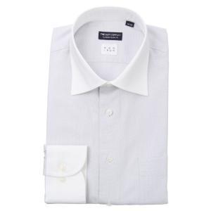 ドレスシャツ/長袖/メンズ/NON IRON/クレリック&ワイドカラードレスシャツ〔EC・CLASSIC SLIM-FIT〕 ライトグレー×ホワイト|uktsc