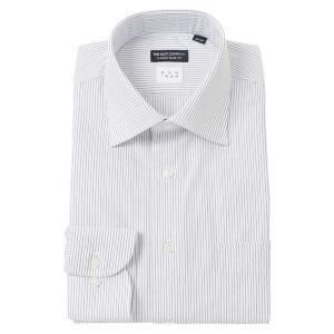 ドレスシャツ/長袖/メンズ/NON IRON/ワイドカラードレスシャツ ストライプ 〔EC・CLASSIC SLIM-FIT〕 ホワイト×ネイビー|uktsc