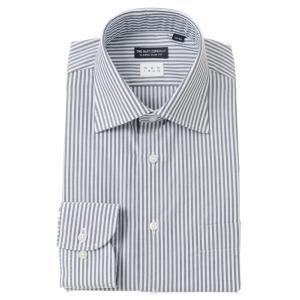 ドレスシャツ/長袖/メンズ/NON IRON/ワイドカラードレスシャツ ストライプ 〔EC・CLASSIC SLIM-FIT〕 ネイビー×ホワイト|uktsc