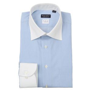 ドレスシャツ/長袖/メンズ/NON IRON/クレリック&ワイドカラードレスシャツ〔EC・CLASSIC SLIM-FIT〕 サックスブルー×ホワイト|uktsc