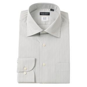 ドレスシャツ/長袖/メンズ/SUPER EASY CARE/ワイドカラードレスシャツ〔EC・CLASSIC SLIM-FIT〕 グレー×ホワイト|uktsc