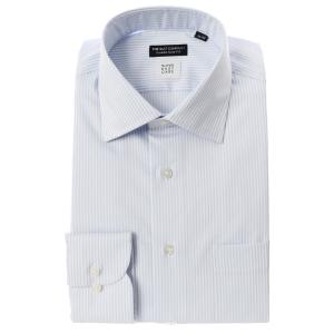 ドレスシャツ/長袖/メンズ/SUPER EASY CARE/ワイドカラードレスシャツ〔EC・CLASSIC SLIM-FIT〕 サックスブルー×ホワイト|uktsc