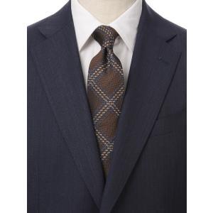 ネクタイ/レギュラータイ/メンズ/British Collection/JAPAN MADE/チェック×織柄ネクタイ ブラウン系|uktsc
