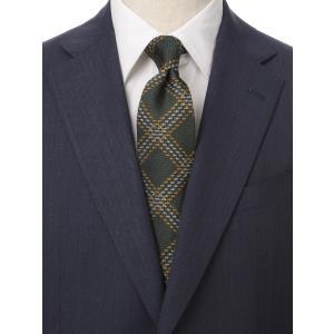 ネクタイ/レギュラータイ/メンズ/British Collection/JAPAN MADE/チェック×織柄ネクタイ グリーン系|uktsc
