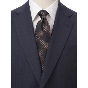 ネクタイ/レギュラータイ/メンズ/British Collection/JAPAN MADE/チェック×織柄ネクタイ ネイビー系|uktsc
