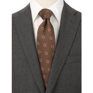 ネクタイ/レギュラータイ/メンズ/British Collection/JAPAN MADE/小紋×織柄ネクタイ ブラウン系|uktsc