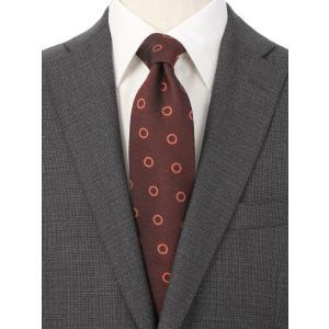 ネクタイ/レギュラータイ/メンズ/British Collection/JAPAN MADE/小紋×織柄ネクタイ レッド系 uktsc
